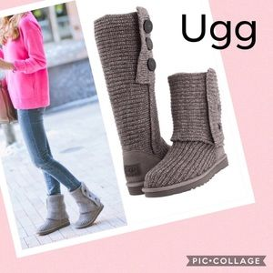 Ugg chunky sweater knit Cardi boots in Gray
